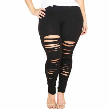 Women's Plus Size Shredded Leggings