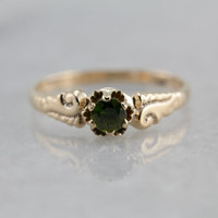 Victorian Era Engagement, Petite Demantoid Garnet Solitaire Ring LL333N-P