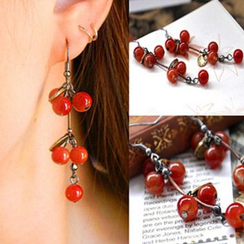 ES024 Cherry Stud Earrings Long Vintage Brincos earring Jewelry For Women pattern earrings