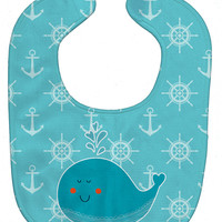 Whale with Anchors Baby Bib BB6765BIB