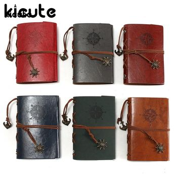 Kicute Vintage Retro Leather Cover Notebooks Personal Diary Journals Agenda Kraft Paper Sketchbook Handmade Travel Notebook Gift