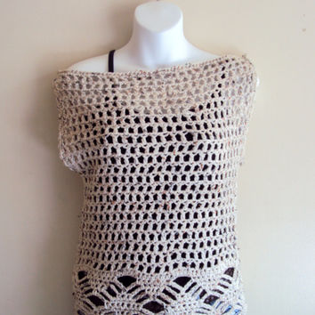 Crochet Off to Shoulder Lattice Lace Top  Spring Summer Top Bridal Top Women's Clothing Mother's Day Gift Beach Top Swimsuit Cover Up