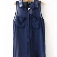Women Summer Euro Style Asymmetrical Sequins Sleeveless Navy Chiffon Blouse S/M/L@WH0011n $22.49 only in eFexcity.com.