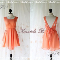 A Party V Shape Style - Prom Party Cocktail Bridesmaid Dinner Wedding Night Dress Pale Powder Tangerine Sweet Gorgeous Glamorous Dress