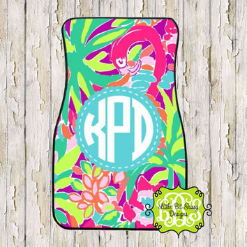 Car Mats Chevron Personalized Monogrammed Floor Car Mat Initial Tropical Preppy Flowers