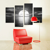 Moon Reflection Painting on Canvas (4 Pcs.)