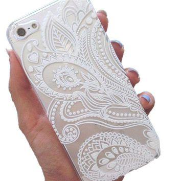 Mobile Phone Cases for iPhone 6s 4.7Inch Henna White Floral Flower Plastic Case Cover Skin for iPhone 6s 4.7Inch