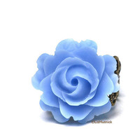 Twilight Blue Rose Ring Brass Filigree