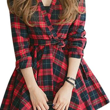 Seattle Sweetheart Red Navy Blue Green Yellow Plaid Long Sleeve Cross Wrap V Neck Tie Waist Skater Circle A Line Flare Mini Dress