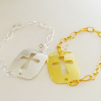 Silver Gold Dog Tag Cross Cut Out Christian Sideways Connector Bracelet, Religiouis Jewelry, Sisters, Mother Daughter Gift