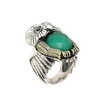 Signature Authentico Jade Faceted Demiquartz Doublet Owl Ring With Brass And Signity Cz Accent