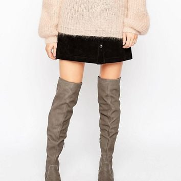 ALDO Chiaverni Leather Flat Over The Knee boots at asos.com