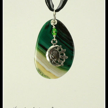 Celestial Charisma Stone Pendant - Sun and Moon - Tibetan Silver Sun and Moon Charm, Green Crystal, Silver Filled Wire - cs1106