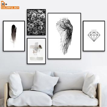 COLORFULBOY Wing Flower Wall Art Print Paintings Black White Nordic Posters And Prints Wall Pictures For Living Room Decoration