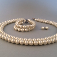 Bridal Pearl Set Ivory Glass Pearl Statement Necklace Statement Bracelet Stud Earrings Wedding Bridal Jewelry Set Bridesmaid Gift