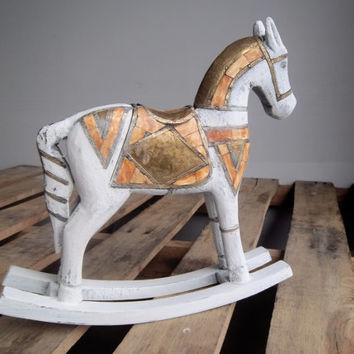 Scandinavian Hand Carved Wood Rocking Horse with Copper, Brass, and Bone detail: decorative horse, primitive, rustic decor, white wood horse