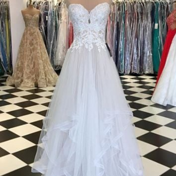 A Line Sweetheart Neck Lace White Prom Dress, Lace Formal Dress, White Evening Dress