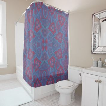 Pink berries, 70s style floral pattern blue purple shower curtain