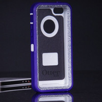iPhone 5C Otterbox Defender Case - Purple/Silver Glitter Otterbox iPhone 5C Case - Sparkly Glitter Bling iPhone 5C Cover