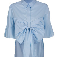 Blue Bowknot Front Belle Sleeve Dipped Back Shirt