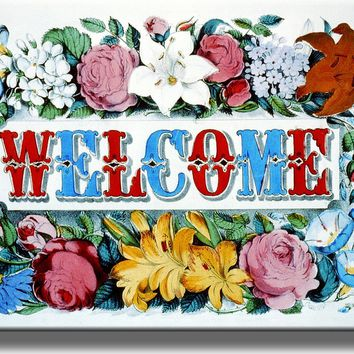 Welcome Flower Sign Picture on Acrylic , Wall Art Décor, Ready to Hang!