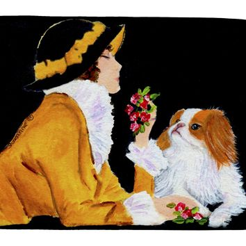 Lady with her Japanese Chin Dish Drying Mat SS8540DDM
