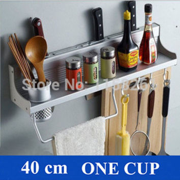 Space Aluminium Kitchen Shelf Kitchen Rack Cooking Utensil Tools Hook Rack Kitchen Holder & Storage 40Cm Kitchen Aid Yh-2140