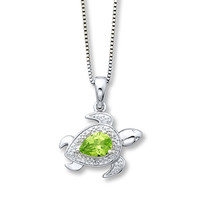 Peridot Turtle Necklace Diamond Accents Sterling Silver