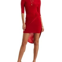 Lace-Back Knotted Asymmetrical Dress by Charlotte Russe