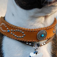 Leather Dog Tan Collar with Infinity Rivet Design  Mohave Custom Concho Deertan Lacing Southwest Boho Leather Dog Collar