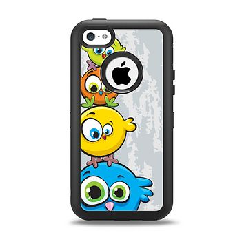 The Tower of Highlighted Cartoon Birds Apple iPhone 5c Otterbox Defender Case Skin Set