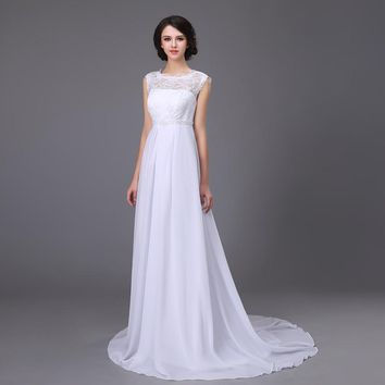 Vestido De Noiva Princesa Stock Robe De Mariage White/Ivory Sheer Lace A-Line Chiffon Wedding Dresses Pearls Beading Bridal Gown