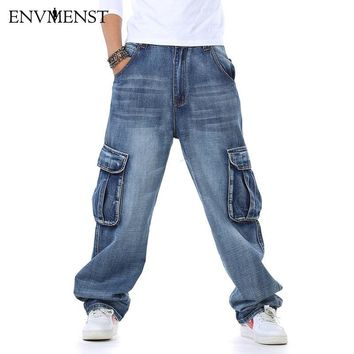 Envmenst Men's Cargo Multi Pocket Hip Hop Designer Baggy Jeans Plus Size