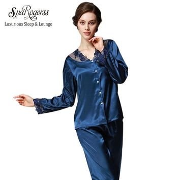 SpaRogerss Luxurious Women Pajama Set 2017 Faux Silk Lace Ladies Pajamas Female Pijamas 2 Pcs Silky Sleep Lounge Woman New TZ193