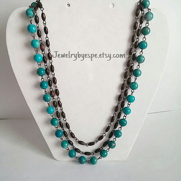 Turquoise & Brown Multi Strand Necklace-Anthropologie Bib Necklace-Bib Necklace Statement-Big Bold Necklace