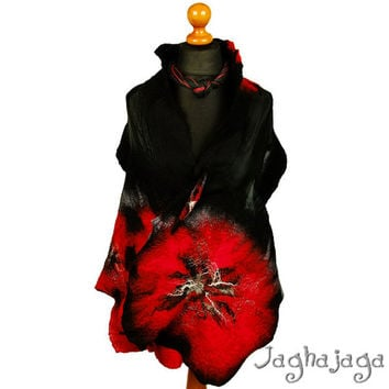 Nuno Felted  Scarf, Evening   Artistic Silk Felt Wool Nuno Felted Scarf,Eco Felted Shawl, nunofelted wool scarf by jaghajaga