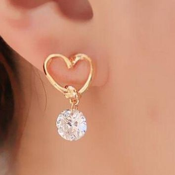 ac PEAPO2Q AAA+ Simple New Design Rhinestone Crystal Silver Stud Earrings Piercing Ear Studs for Women Wedding Party Gift