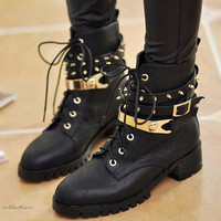 New Womens Spike Studded Punk Chunky Heels Buckle Strap Goth Military Ankle Boot