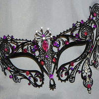 Metal Masquerade Mask with Pink and Purple Accents
