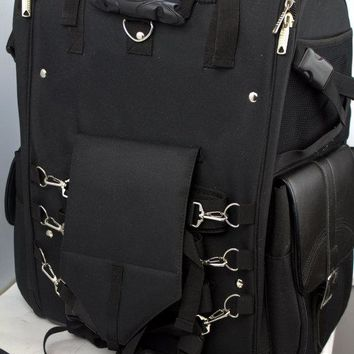 Motorcycle Sissy Bar Bag Two-piece luggage Artificial Black Leather