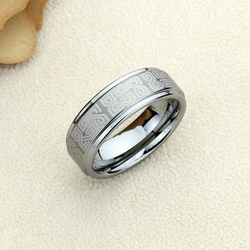 Personalized Name Ring Custom Engraving 8mm Tungsten Comfort Fit Wedding Band Celtic Knot Pattern Round Edges Band