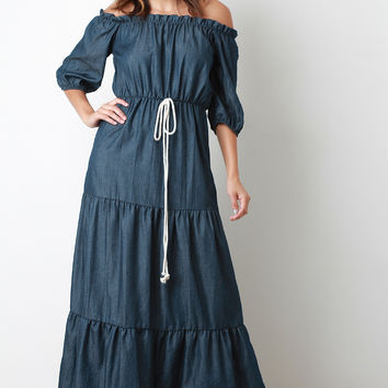 Chambray Puff Sleeves Off-The-Shoulder Tier Maxi Dress