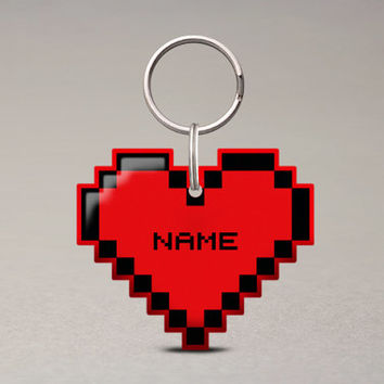 Pixel Heart Pet ID Tag - Video Game Accessories, Nerdy Geeky, Cat And Dog Name Tag - Pixsqueaks