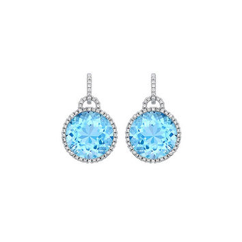 Kiki McDonough Grace 18k Drop Earrings with Blue Topaz & Diamonds