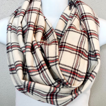 Cream Red & Black Plaid Soft Flannel Infinity Scarf Womens Chunky Fall Plaid Scarf Girls Fashion Fall Cowl Plaid Fashion Accessories