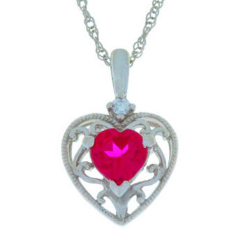 1 Ct Ruby Heart Pendant .925 Sterling Silver Rhodium Finish