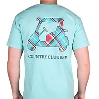 Madras Golf Cart Tee Shirt in Chalky Mint by Country Club Prep