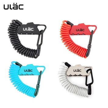 ULAC Mini Zinc Alloy Bike Lock Password Bicycle Locks 1200mm Cable Fold Backpack Anti-theft For Helmet Wheel Saddle Frame