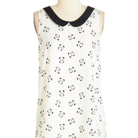 ModCloth Critters Mid-length Sleeveless Classy Collector Top in Pandas