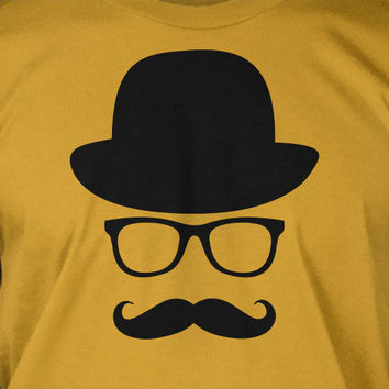 Movember Fancy Moustache Glasses Top Hat Hipster Mustache Hat Wayfarer Tshirt T-Shirt Tee Shirt Mens Womens Ladies Youth Kids Geek Funny